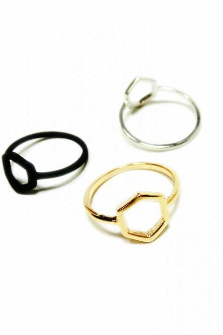 High-grade minimalist punk hexagon ring
