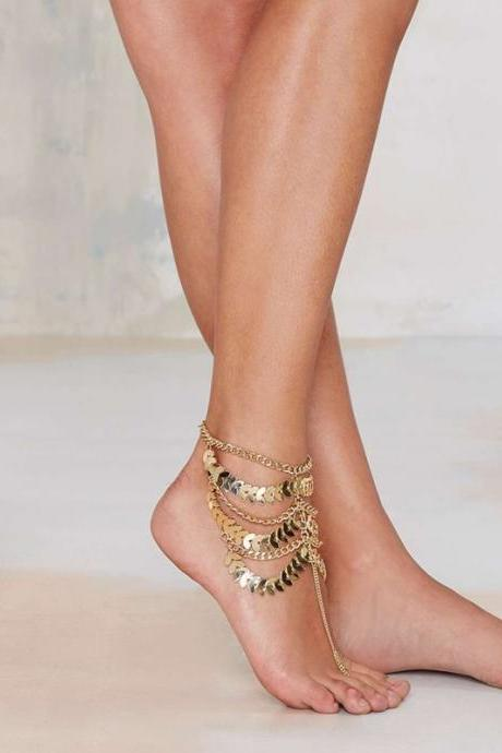 Fashionable retro heavy multi-layer chain tassel anklets