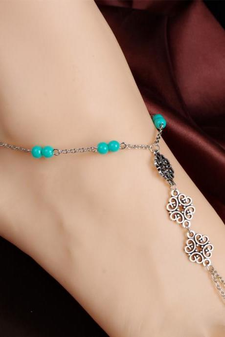 Retro metal hollow parts bright beads even refers to the ankles