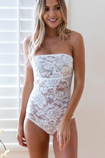 Fashion Sexy Strapless Lace Jumpsuits