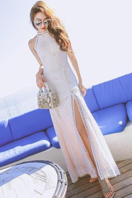 Bohemia Backless Diamond Lace Split Long Dress