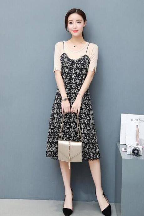 Chiffon Floral Short Sleeve Two Pieces Set Dress