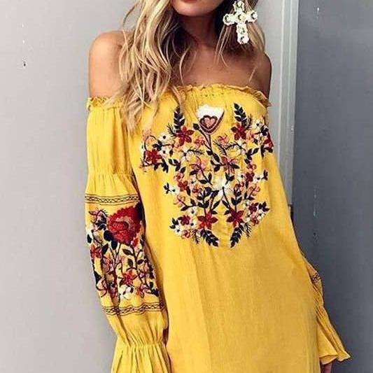Embroidery Off Shoulder Lo..