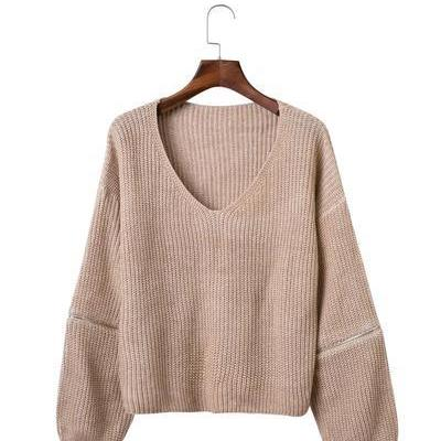 Pure Color Hole Long Sleeves V-neck Zipper Sweater