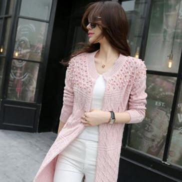 Cable Beadings Loose Candy Color Long Sleeves Long Cardigan