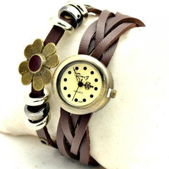 Free Shipping Round Dial Leather Band Women's Watch