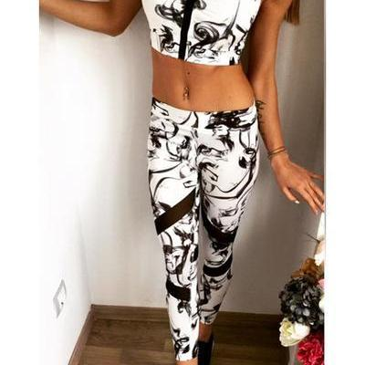 Print Backless Sports Tank Top with Skinny Pants Two Pieces Set