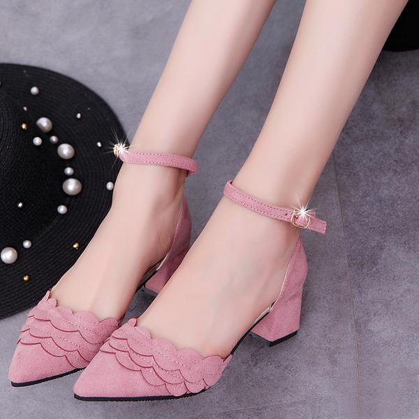 Pointed-Toe Scalloped Ankle Strap Low Chunky Heels