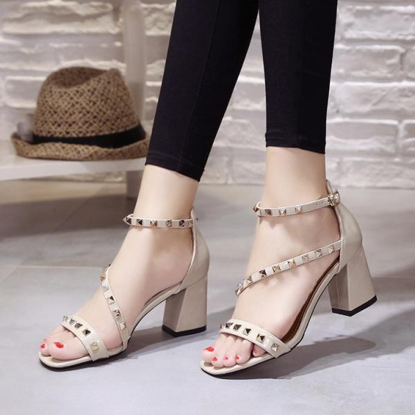 Open-Toe Asymmetrical Ankle Strap Chunky Heels with Rivets