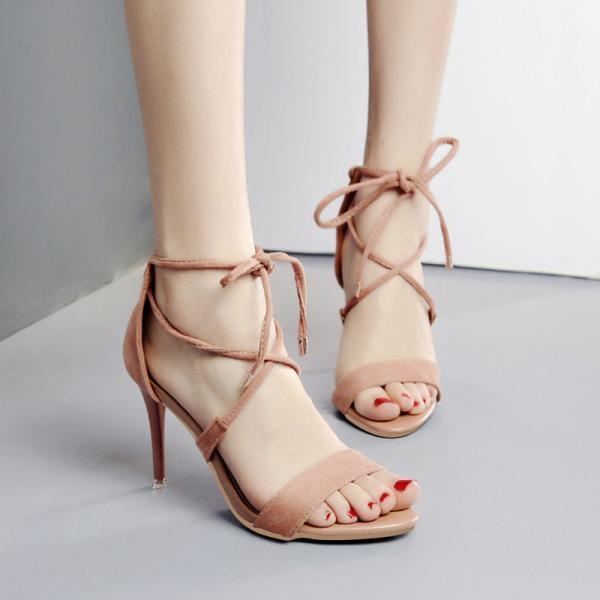 Open Toe Straps Ankle Wrap Stiletto High Heels Sandals