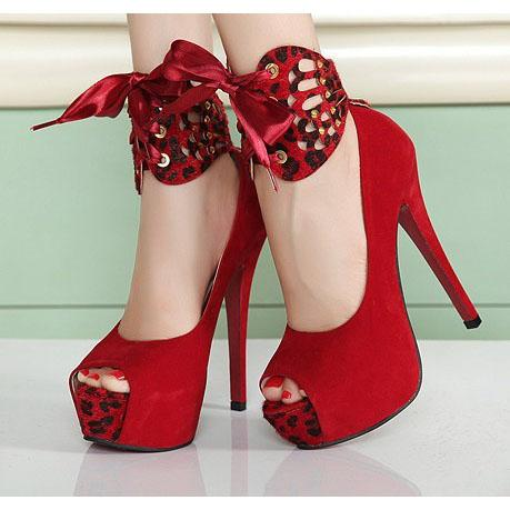 Peep Toe Platform Ankle Wraps High Stiletto Heels Sandals
