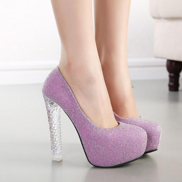 Crystal Platform Round Toe Super High Transparent Stiletto Heels Party Shoes