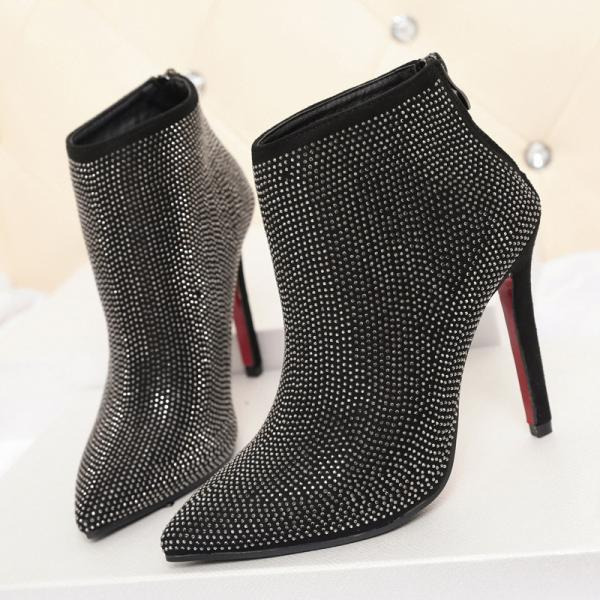 Shinning Crystal Pointed Toe Stiletto High Heels Short Boots