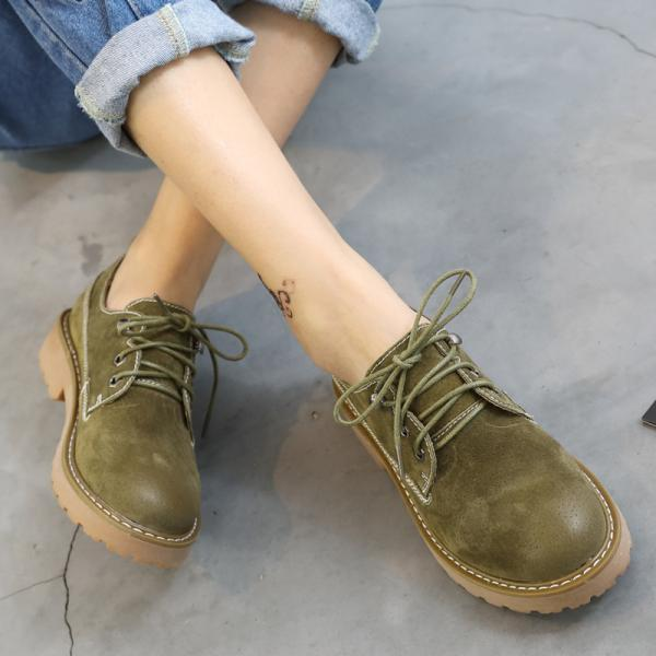 Round Toe Lace Up Low Chunky Heels Short Martin Boots