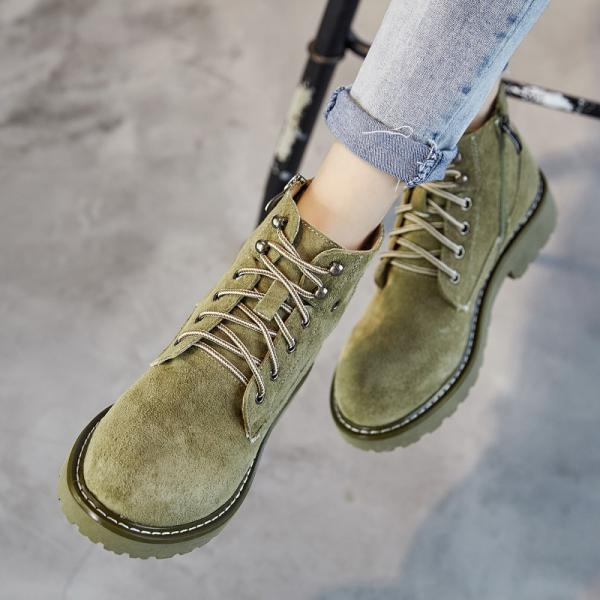 Suede Lace Up Round Toe British Motorcycle Short Boots