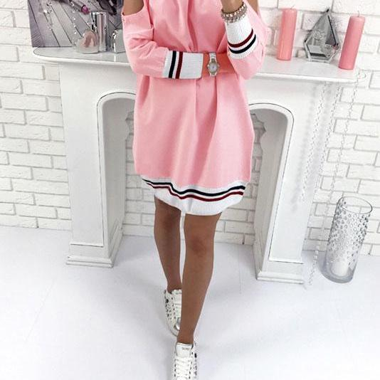 Bear Shoulder Scoop Long Sleeves Patchwork Short Dress