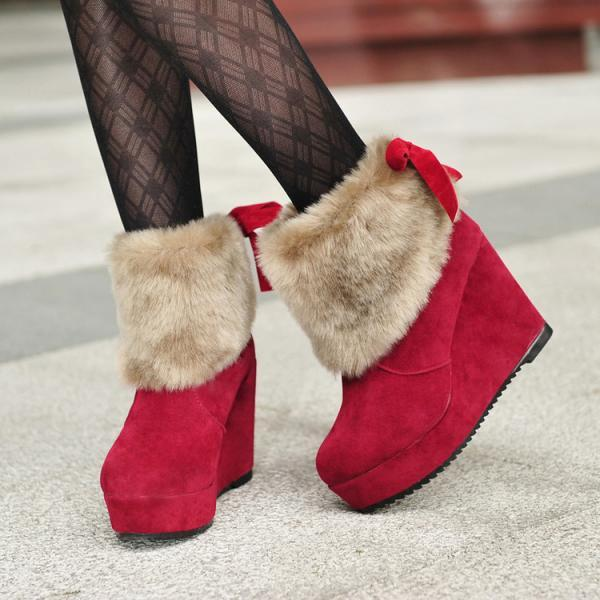 Scrub Pure Color Slope Heel Round Toe Platform Boots