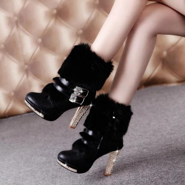PU Pure Color Chunky Heel Round Toe Belt Buckle Short Boots