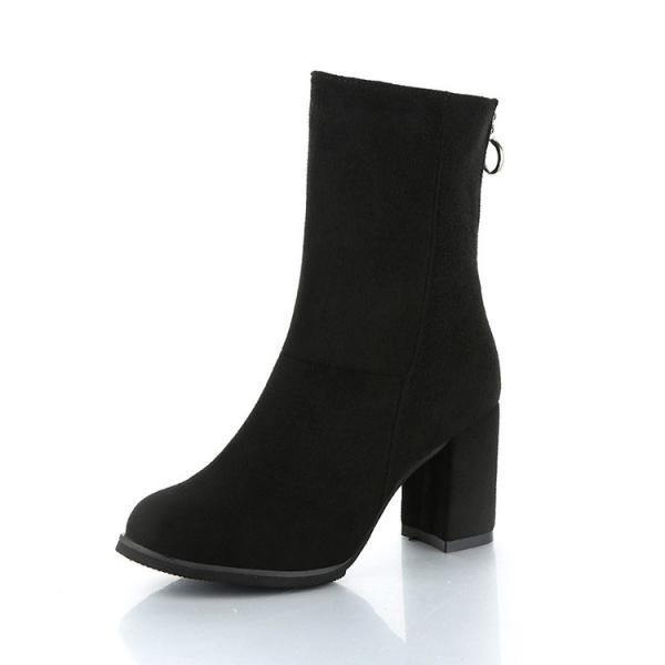 PU Pure Color Round Toe Chunky Heel Zipper Short Boots