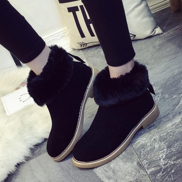 Suede Pure color Zipper Round Toe Boots