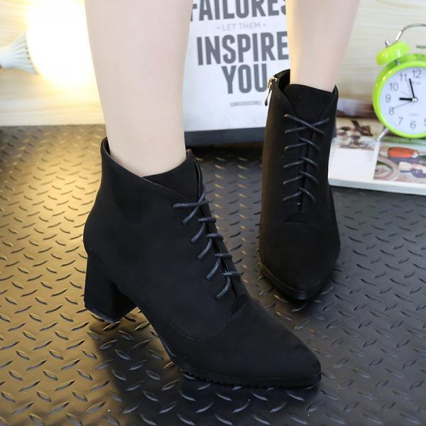 Suede Pure Color Chunky Heel Pionted Toe Lace-up Short Boots