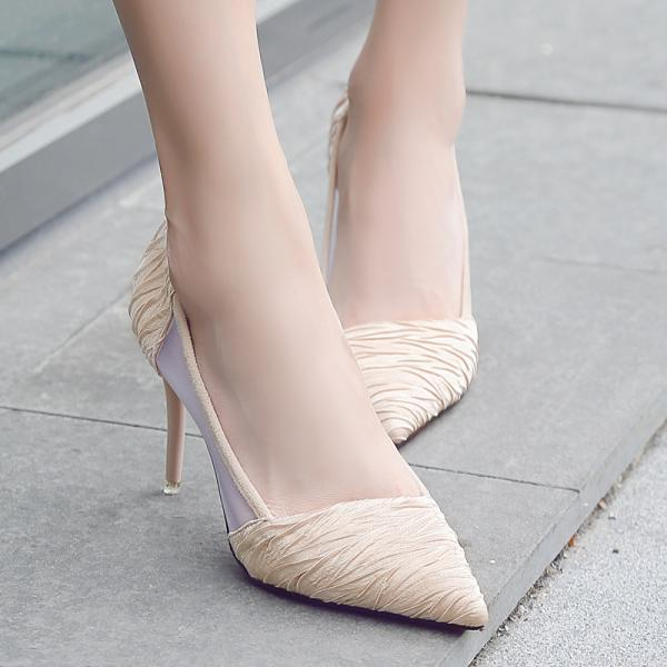 Microfiber Pure Color Stiletto Heel Pionted Toe High Heels