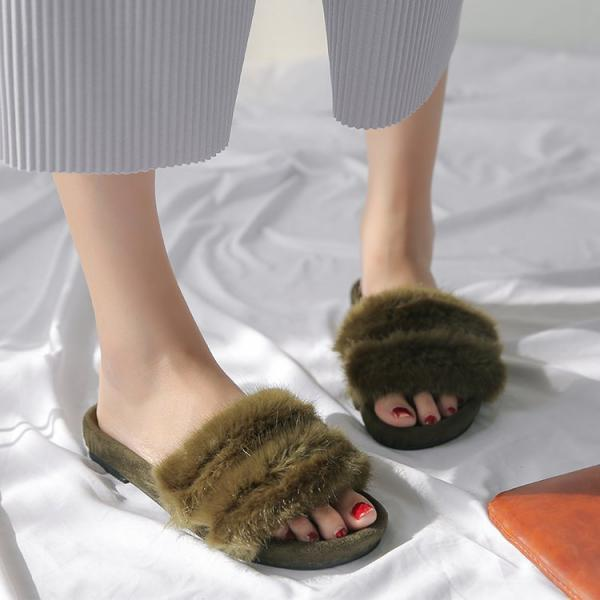 Fur Slides In Green, Black..