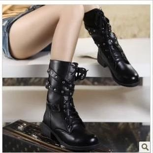 Pure Color PU Chunky Heel Round Toe Belt Buckle Martin Boots