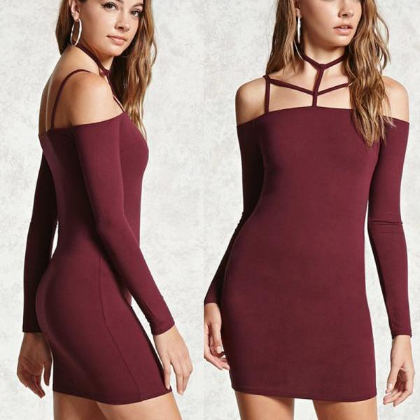 Bandage Hollow Out Backless Spaghetti Strap Short Dress