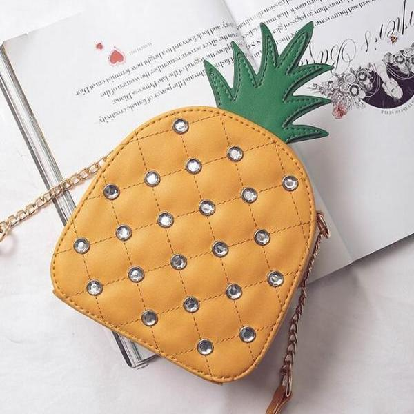 Fashion Rivet Pineapple Shape Crossbody Bag