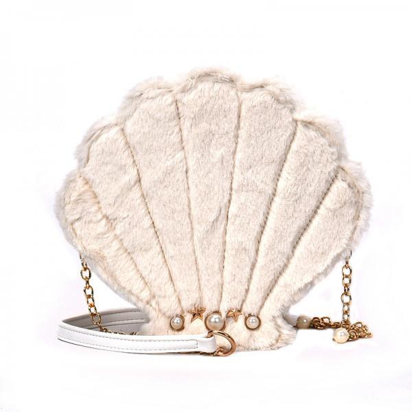 Pearly Shell Design Plush Crossbody Bag