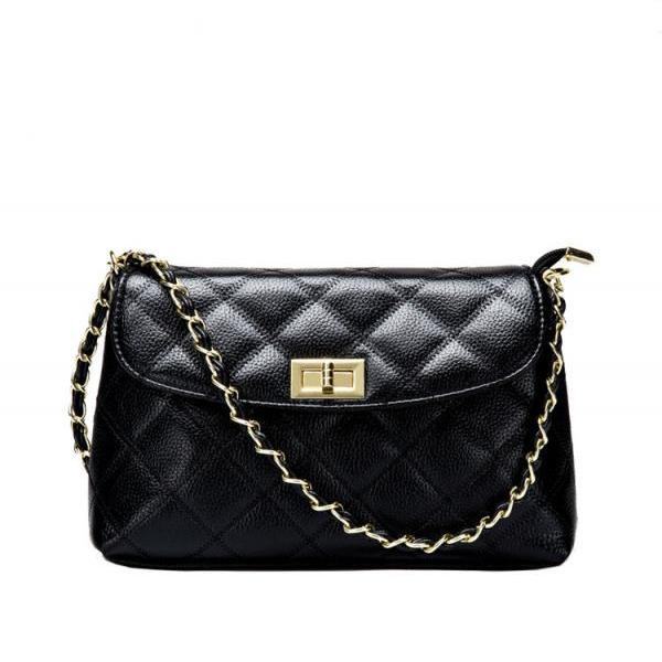 Lining Plaid Embossed Rotate Latch Cross Body Bag