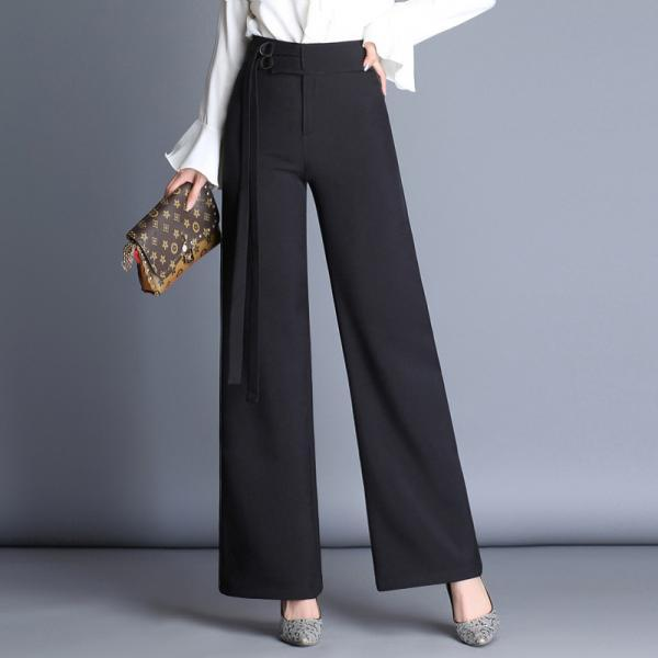 Solid Color High Waist Wide Leg Long Casual Pants