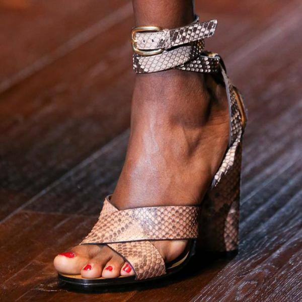 Snake-Grain Pattern Straps Cross Ankle Wrap High Chunky Heels Sandals