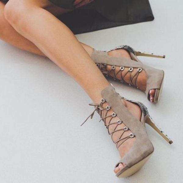 Cut Out Straps Stiletto Heel Peep-toe High Heel Sandals Party Shoes