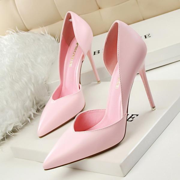 Candy Color Pointed Toe Low Cut Stiletto High Heels Prom Shoes