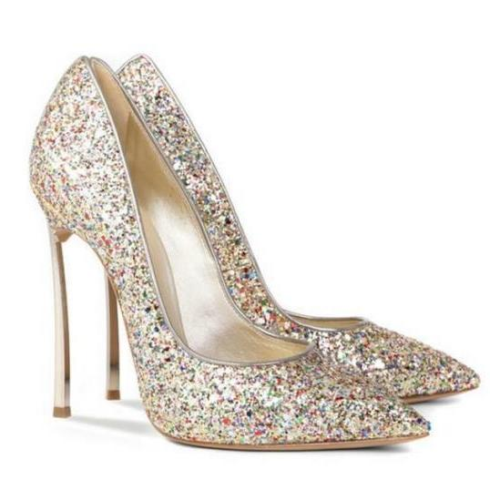 Sequins Pointed-Toe High Heel Stilettos, Party Heels