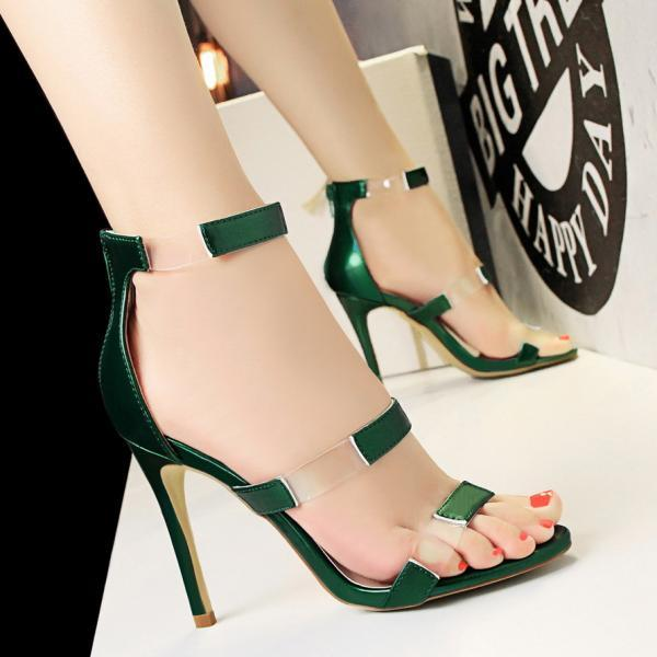 Patchwork Transparent Open Toe Zipper Stiletto High Heel Sandals