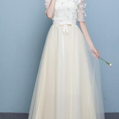 Off Shoulder Half Sleeves Flowers Long Pleated Party Bridesmaid Dress