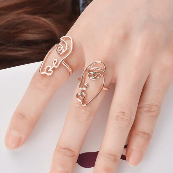 Fashion National Style Alloy Mask Ring