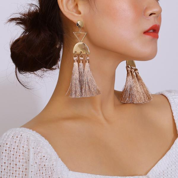 Exaggerated Personality Long Hand-made Tassel Earrings