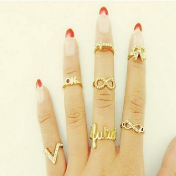7 Pcs Sweet Women's Gold Alloy Cross Bowknot Midi Rings