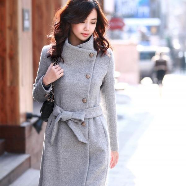 European Style Slim Bowknot Sash Pure Color Worsted Trench Coat Outwear