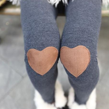 Red Heart Patched Leggings Tights In Grey