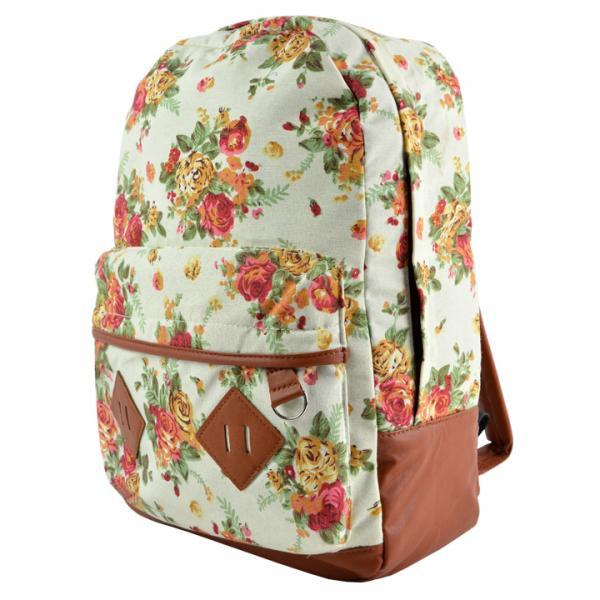 New Girls Canvas Flower Rucksack Backpack School College Travel Cabin Bag