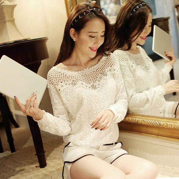 Fashion Women Sheer Sleeve Embroidery Lace Crochet Tee Chiffon Shirt Blouse Top