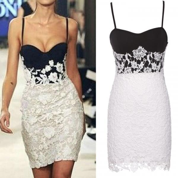 New Fashion Women Floral Lace Bodycon Sexy Party Evening Cocktail Ladies Strap Bustier Dress