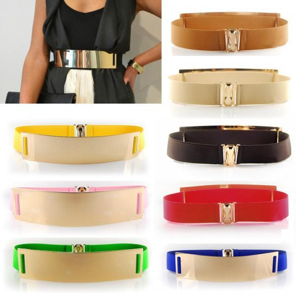 Women Metal Elastic Mirro Waist Belt