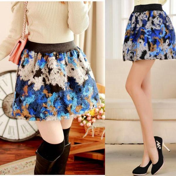 New Arrival Autumn Winter Vintage Ball Gown Floral Short Wool Blend Skirt