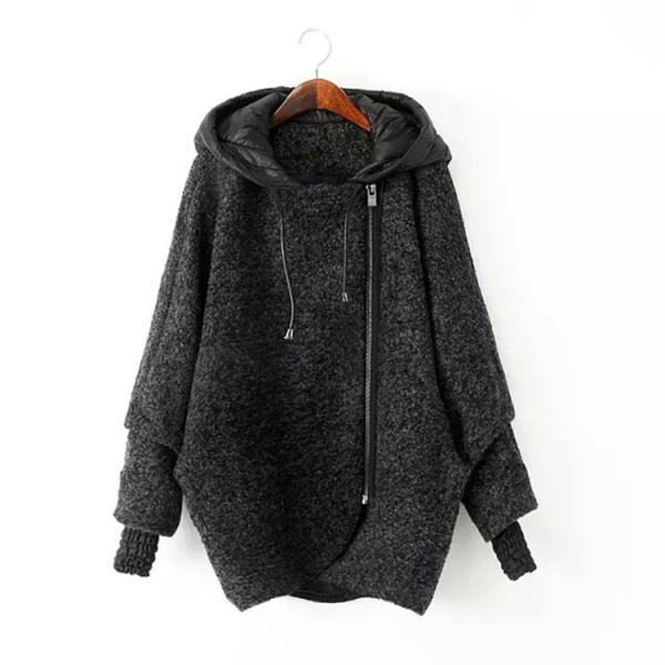 Womens Irregular Woolen Zipper Hooded Coat
